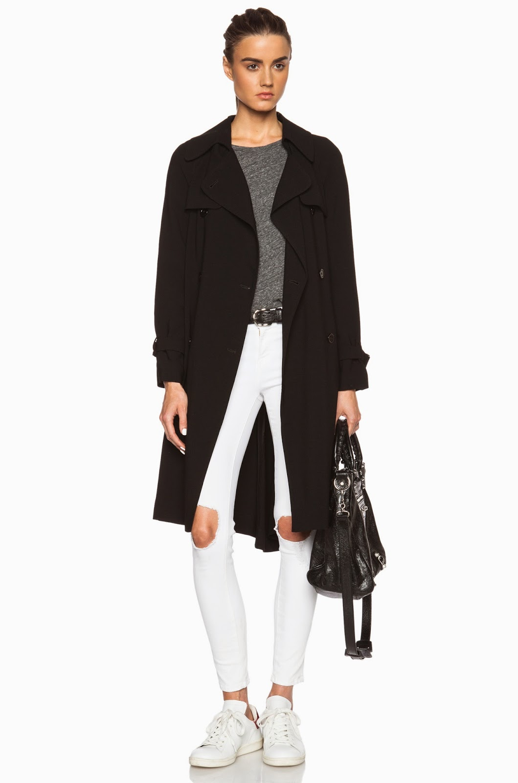 classic with an edge - black trench coat - ripped white skinny jeans - white sneakers