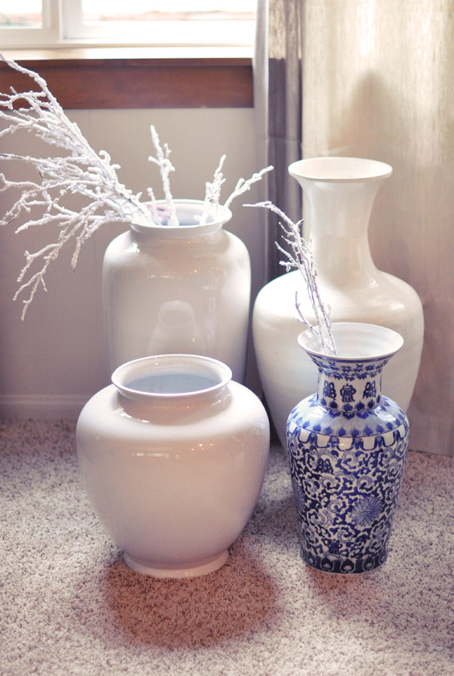 white and blue large vases
