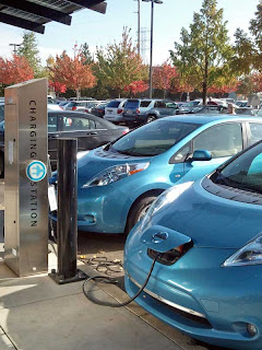 2011 Nissan Leaf at charging station - Subcompact Culture