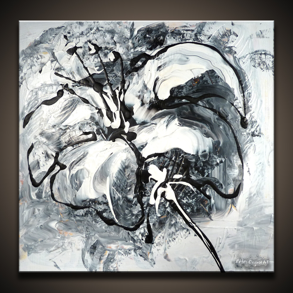 black and white flower abstract art painting by peter dranitsin nothing less original acrylics on canvas