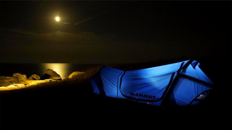 Mammut Tent - Moon and Sea at Night & Mammut Lodge Bivy Tent - First Impression