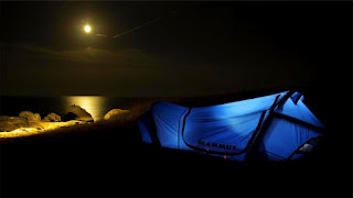 Mammut Tent - Moon and Sea at Night
