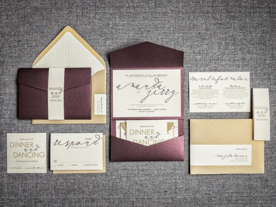 http://www.opensky.com/juliehanandesign/product/purple-wedding-invitations-modern-wedding-invitaions-eggplant-plum-gold-modern-calligraphy-pocketfold-no-layers-v1-deposit