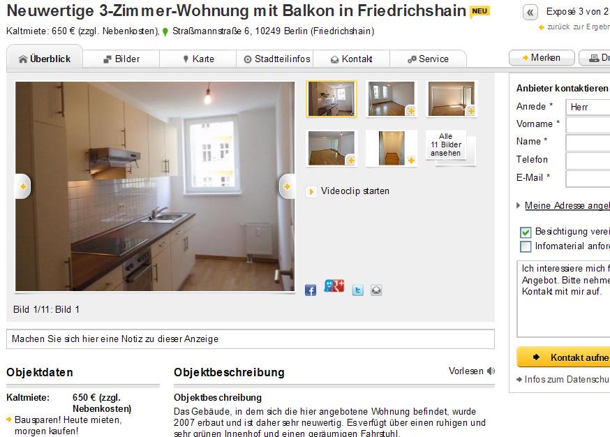 neuwertige 3 zimmer wohnung mit balkon in friedrichshain. Black Bedroom Furniture Sets. Home Design Ideas