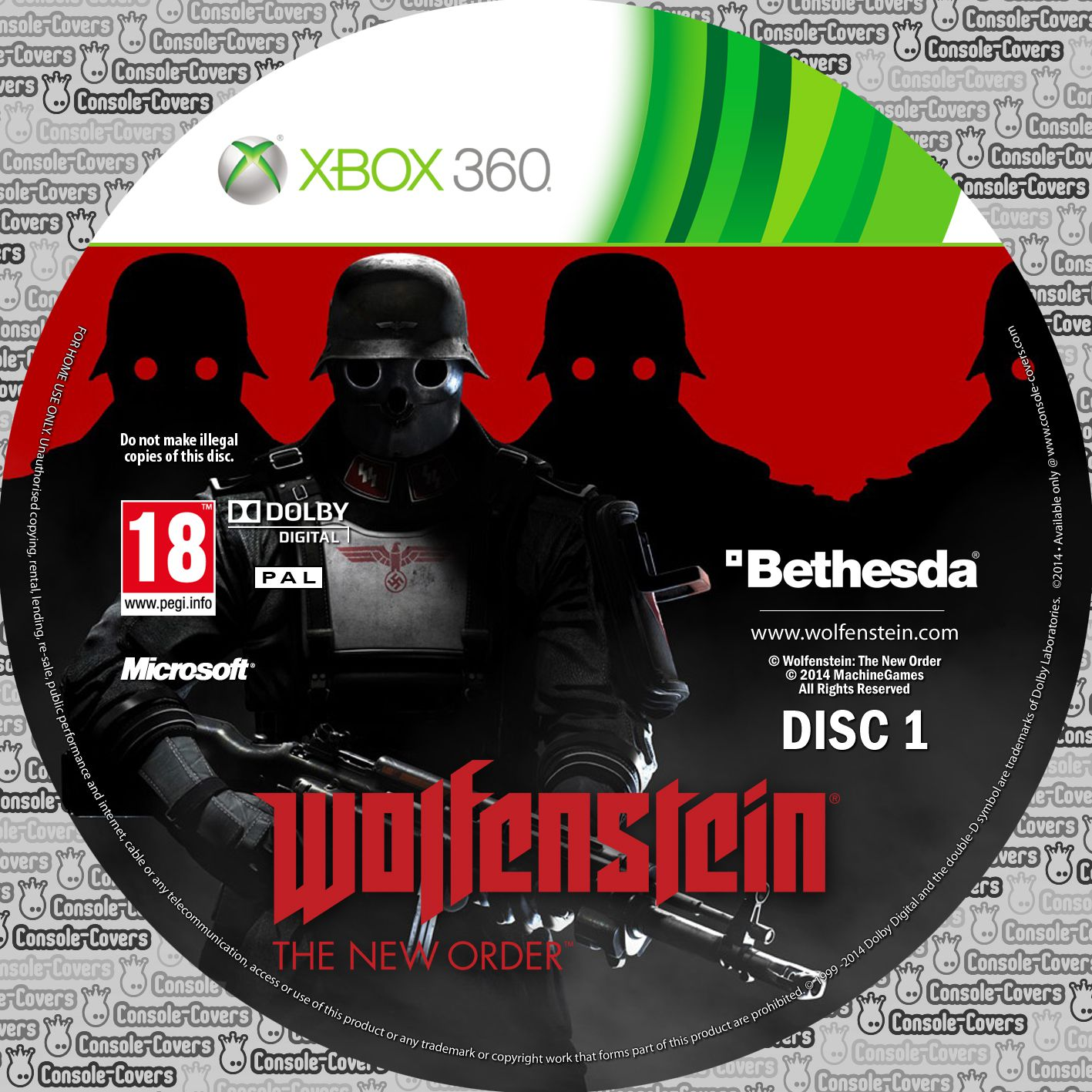 Label Wolfenstein The New Order Disc 1 Xbox 360