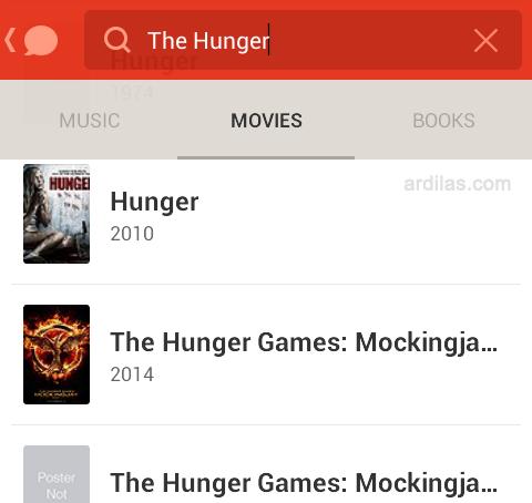 Film, ketik nama film dan pilih film - Cara Bermain dan Menggunakan Aplikasi Path Talk - Android