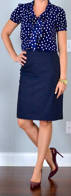 outfit post: polka-dot tie neck blouse, navy pencil skirt ...