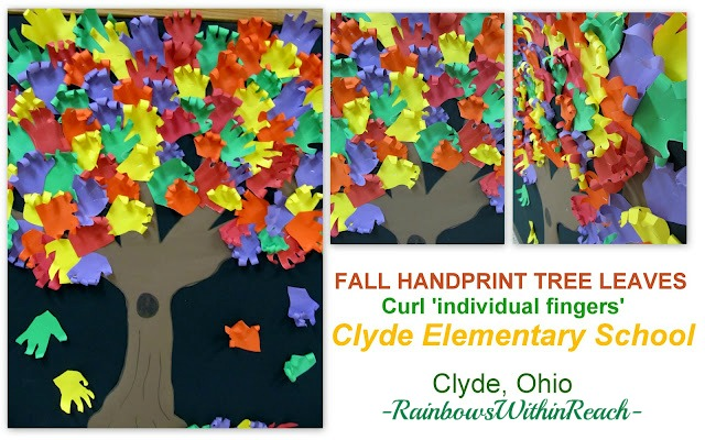 photo of: Collaborative Fall Leaf Bulletin Board for Back-to-School (Handprint Cut Outs) Bulletin Board Roundup via RainbowsWithinReach