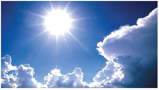 Penyinaran matahari yang berlangsung lama menyebabkan suhu udara menjadi tinggi. (Sumber: Microsoft Encarta)