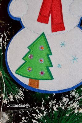 Снеговик, аппликация из фетра, новогодняя игрушка