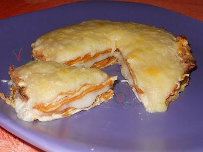 Tortilla de boniato gratinada.