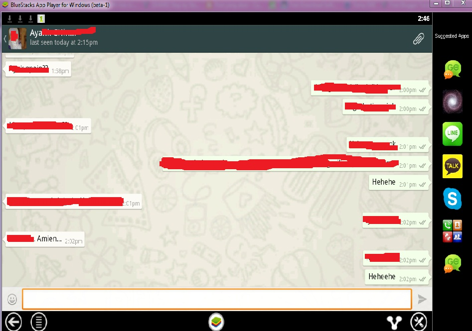 Tampilan Chatting Whatsapp di PC