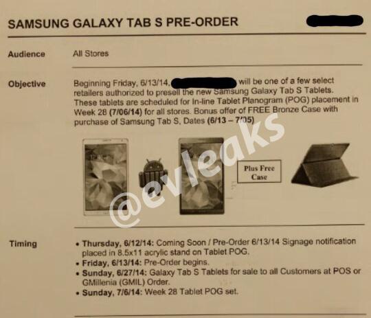 Samsung Galaxy Tab S pre-order