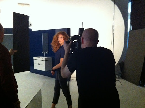 Behind the scenes of Kohler Torsion Ad styled by Jessica Moazami