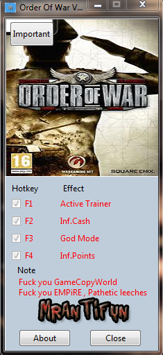 Order Of War V1.0.0.1 Trainer  +3 MrAntiFun