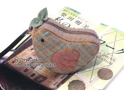porta-moedas em patchwork - passarinho com molde