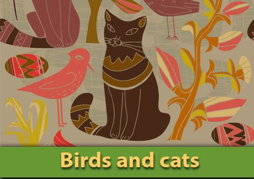 cat+and+bird Cat and bird ancient paint vector