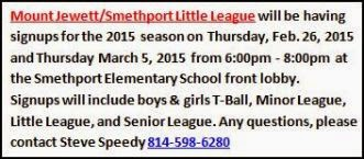 2-26/3/5 Little League Signups