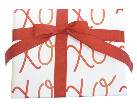 XOXO Wrapping Paper & Clay Red Ribbon from The Love. Luck. Kisses & Cake Shop  |  SHOP.LLK-C.com