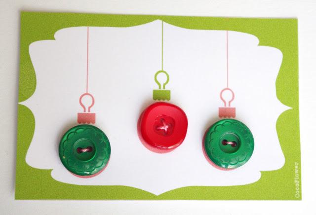 #boule de #Noël #bouton #vert #rouge plastique www.CocoFlower.net