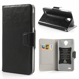 Crazy Horse Texture Leather Case Wallet with Stand for Lenovo S820 - Black