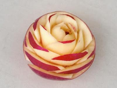 rose flower apple fruit art carving