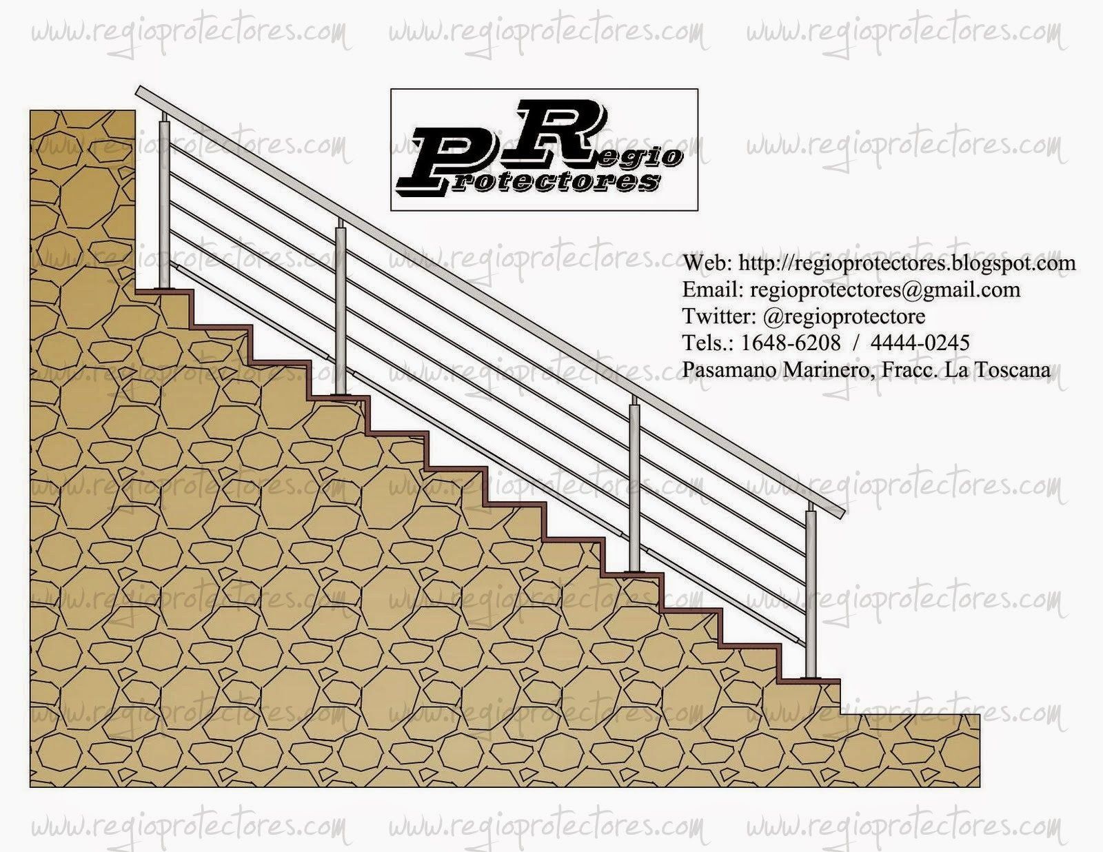 Regio protectores dise o de pasamano para escalera tipo for Escalera tipo u