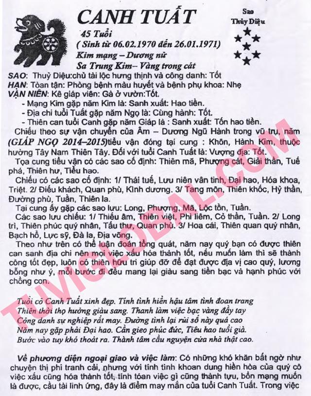 TỬ VI TUỔI CANH TUẤT 1970 NĂM 2014 GIÁP NGỌ - Blog Trần ...