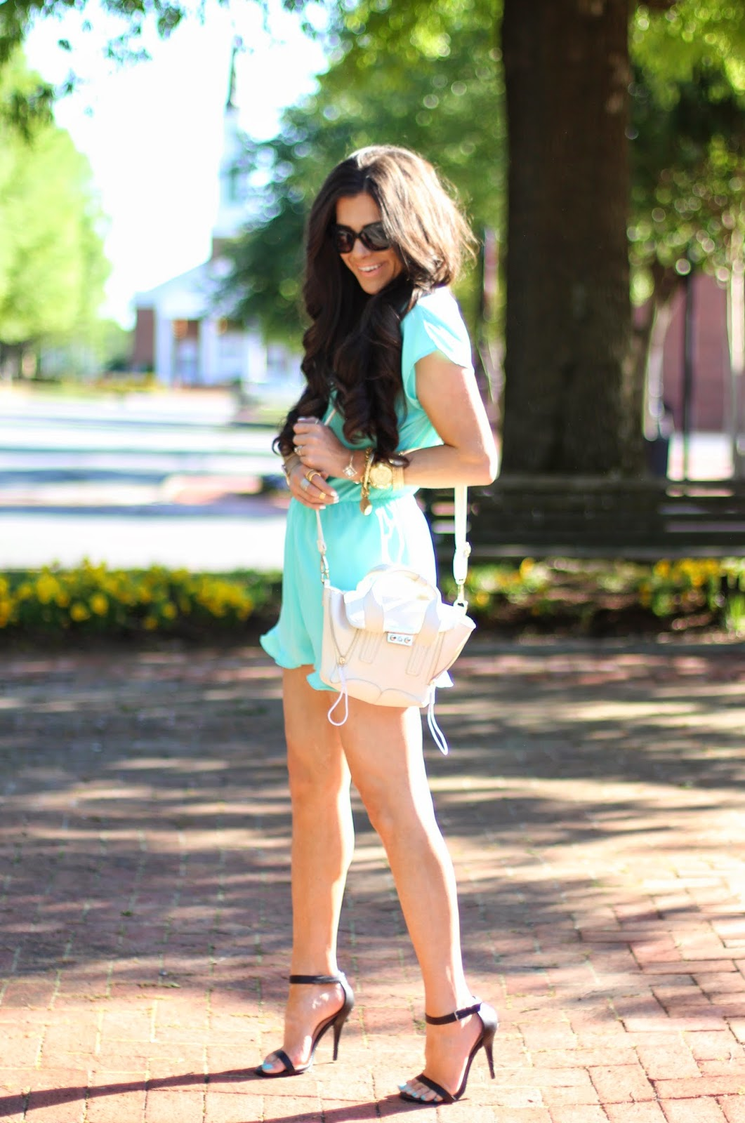 www.theSweetestthingblog.com, Emily Gemma, Blue Ruffle Romper, Romper with Ruffles, Baby Blue Romper, Shop Sosie Romper, Necessary Clothing Romper, White phillip lim bag, prima donna bags, Chanel cat eye sunglasses, pinterest summer and spring fashion 2014, pinterest summer outfits, zara nude sandals, nude strappy sandals, michele watch, bellami hair, mocha chino 22 inch extensions, hair extensions, michael kors runway watch, gorjana ring, sole society  ring, john windy bracelet