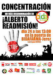 Concentración por la readmisión de Alberto en Bidafarma, lunes 24 de junio a las 13:00 en Bidafarma
