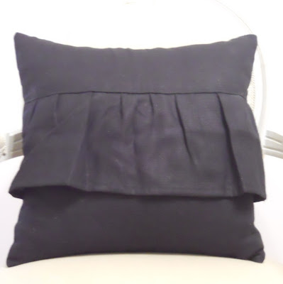 Black Ruffle Linen Cushion