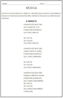 Atividades de Leitura - Atividades de Lingua Portuguesa - A Barata
