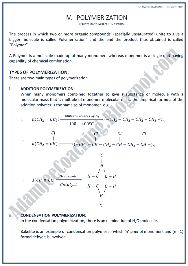XII Chemistry Notes - Introduction of Organic Chemistry