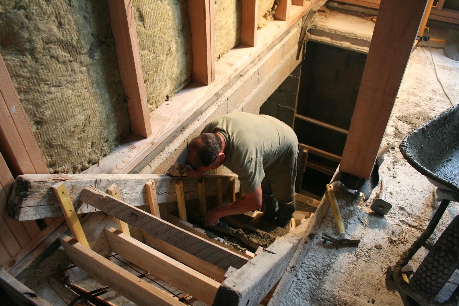 Chronique d 39 une construction de maison en paille ossature bois dans la ma - Coffrage escalier arrondi ...