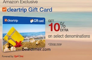 10% extra offer on Cleartrip Gift Cards