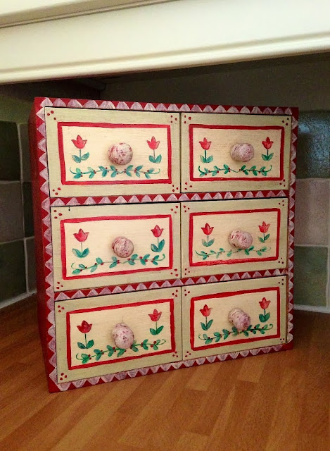 hand painted ikea moppe chest