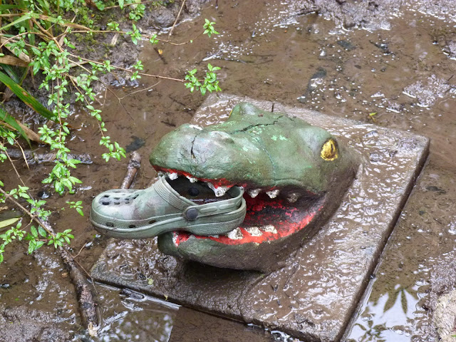 crocodile with a Croc in  his mouth