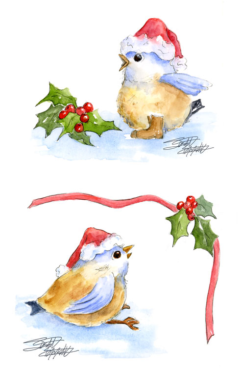 sbwatercolors and sketching: Working on Granddaughters' Christmas ...