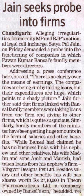 Former city MP and BJP's national legal cell incharge, Saty Pal Jain, on Friday demanded a probe into the functioning of companies in which Pawan Kumar Bansal's family members were directors.