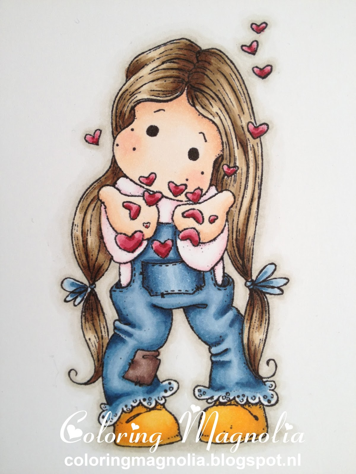 Coloring Magnolia Stamp 2013 With Love Collection - Tilda Blowing Hearts