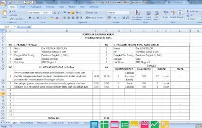 Aplikasi SKP Guru BK Format Microsoft Excel Tahun 2016