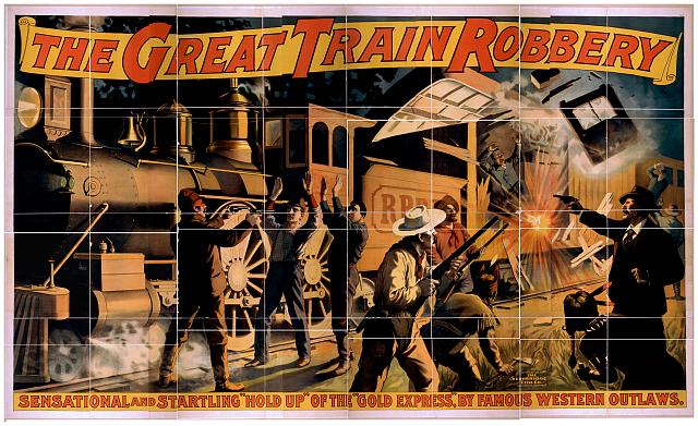 advertising, art, classic posters, free download, graphic design, movies, retro prints, theater, vintage, vintage posters, The Great Train Robbery, Sensational and Startling Hold Up of the Gold Express - Vintage Theater Poster