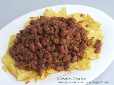 Bean and Mince Nachos with Guacamole