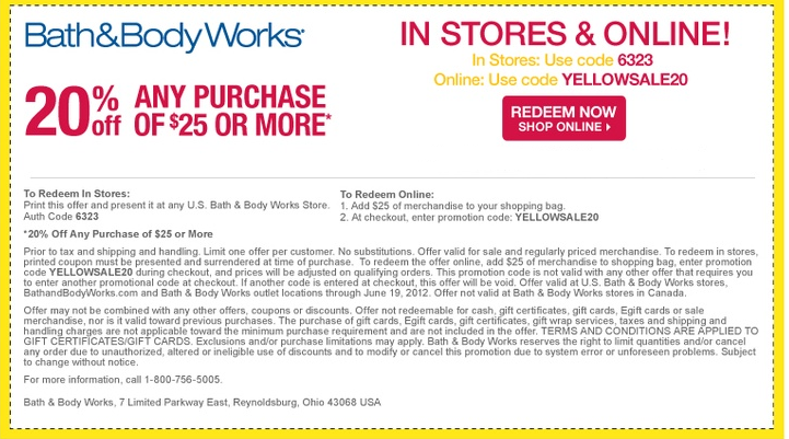 Bath and Body Works Coupons 2014