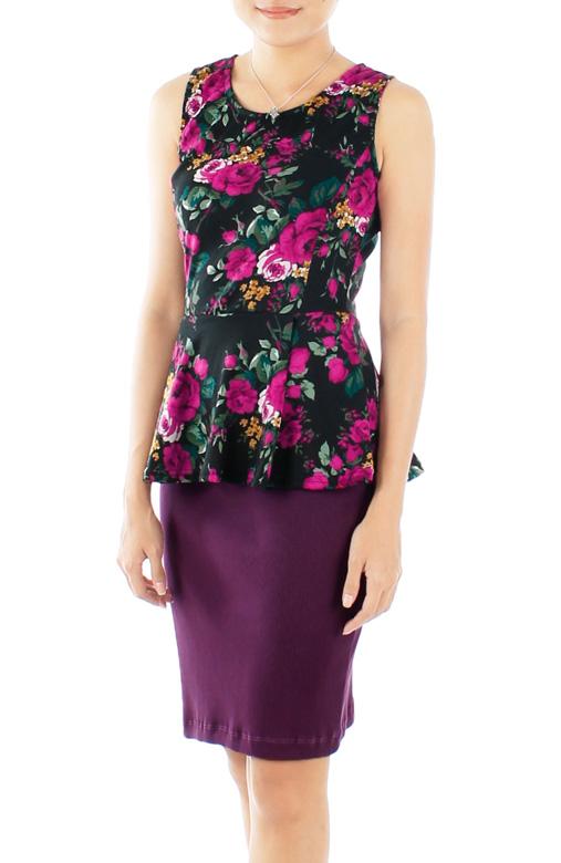 Violet Rose Full Bloom Peplum Top