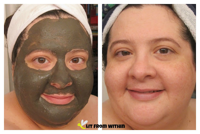 My face, before and after the Maple Holistics Dead Sea mud mask