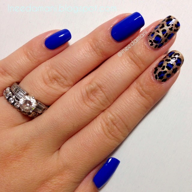essie butler please blue and gold leopard print nails