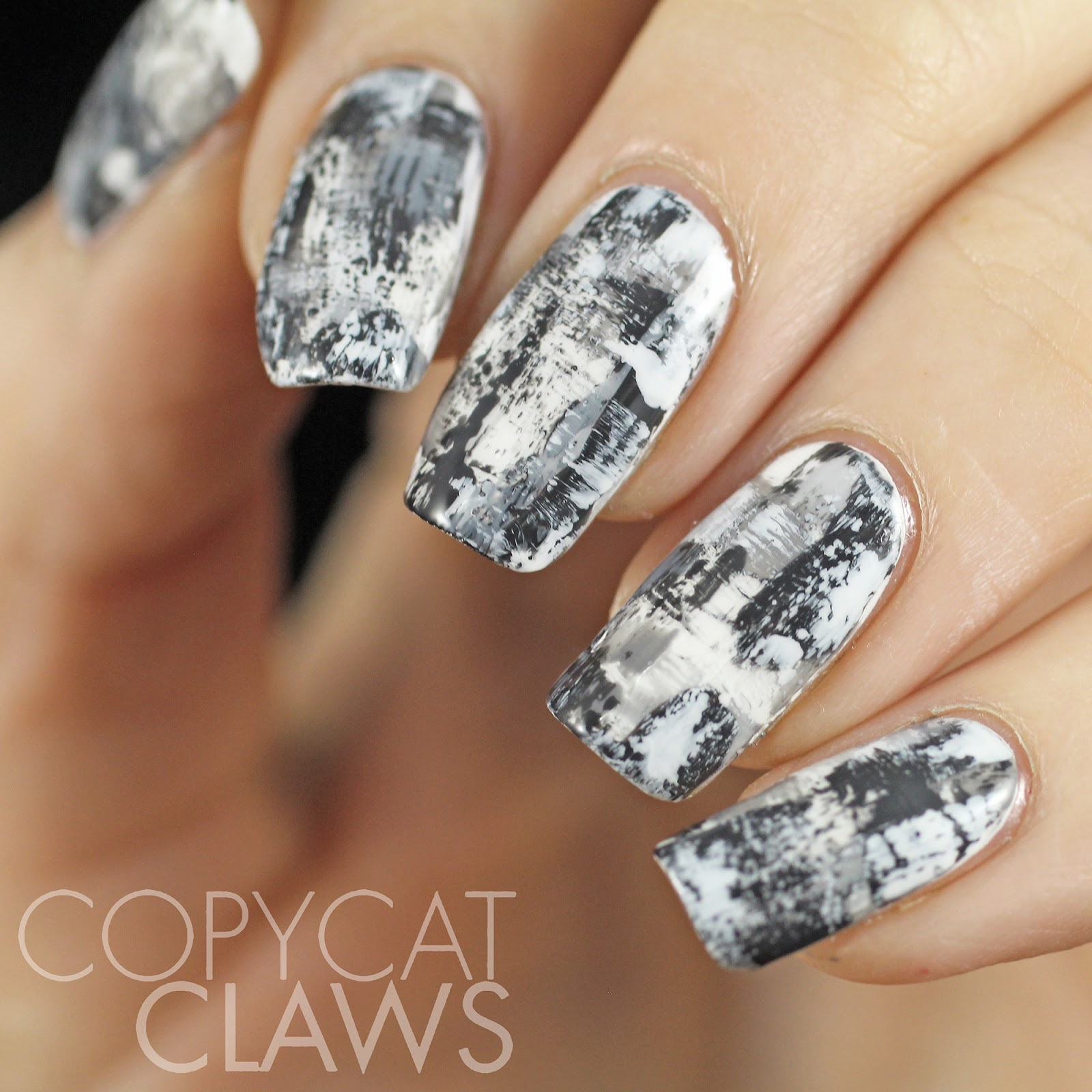 Copycat Claws: Monochrome Distressed Nail Art