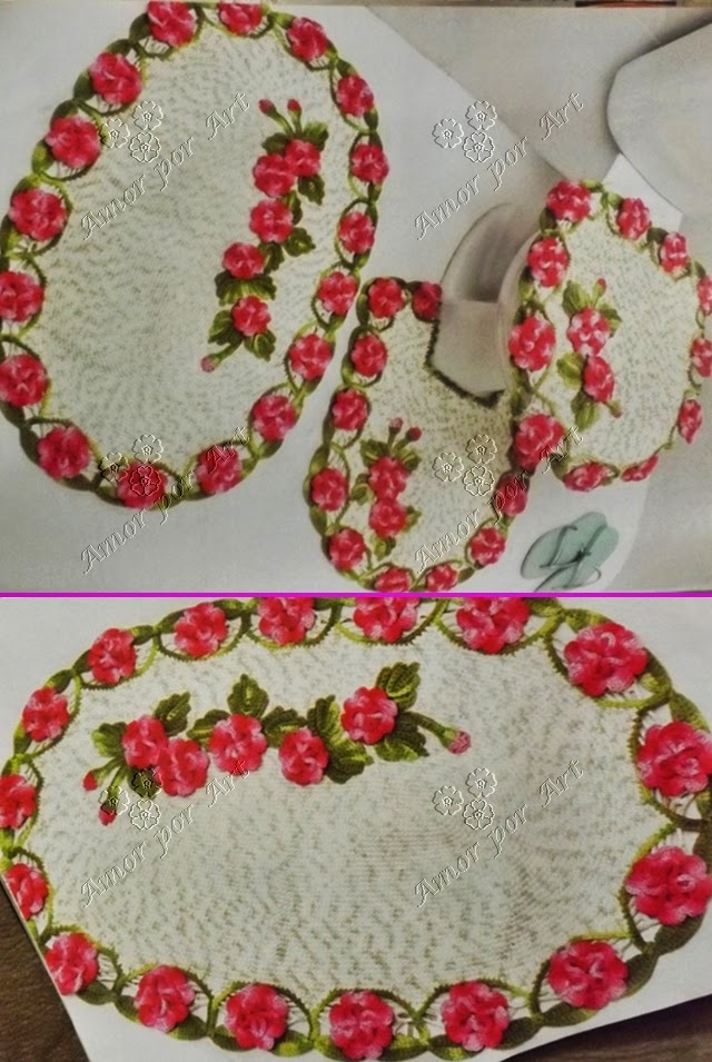 Jogo de Banheiro em Crochê com Flores Barroco Pink-Amor por Art em