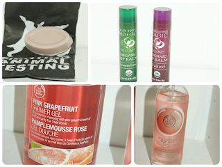 Lush Full of Grace, Dr Bronner's Magic Lip Balm, Body Shop Pink Grapefruit